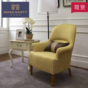 美式乡村实木黄色单人<span class=H>沙发椅</span>子客厅简约轻奢布艺老虎椅设计师家具