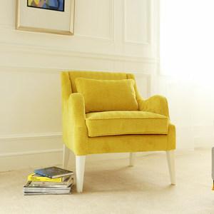 北欧单人沙发客厅现代简约黄色阳台休闲<span class=H>沙发椅</span>卧室小户型布艺沙发