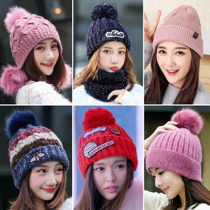 秋天帽子女款时尚的韩版冬季潮百搭学生2017新款毛线针织保暖加绒