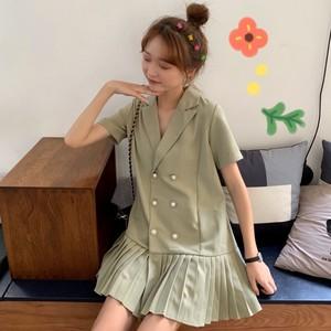 2019新款夏季很仙的法国小众桔梗裙子宽松短袖衬衫领百褶连衣裙女