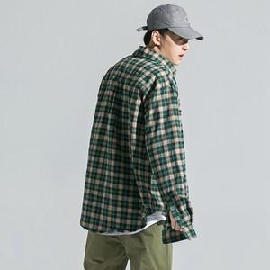GRINCH 2018 SS欧美高街开叉格子<span class=H>衬衫</span>男美式前短后长飘带<span class=H>衬衫</span>外套