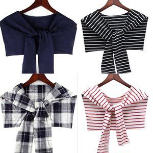 假两件搭肩袖披肩假领搭结小披肩装饰假袖子空调房<span class=H>围巾</span>男女假领子