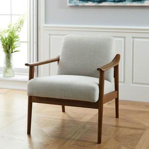 北欧单人<span class=H>沙发椅</span>小户型客厅现代简约实木布艺可拆洗卧室靠背休闲椅