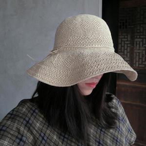 <span class=H>草帽</span>女夏天宽檐沙滩帽细密花纹编织海边防晒太阳帽可折叠遮阳帽子