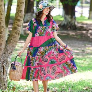<span class=H>连衣裙</span>女新款夏季民族风女装大码宽松印花V领短袖中长款棉绸裙子