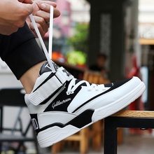 Autumn White High-Up Heavy-Bottom Breathable Basketball Skateboard Shoes Hip-hop Korean Edition Heighten Young Gao Bang Skateboard Shoes for Boys White Shoes