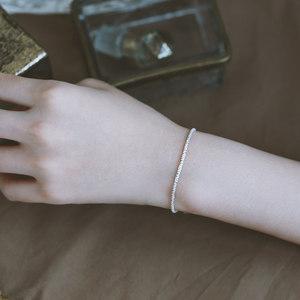 925纯银<span class=H>手链</span>女2019新款潮气质简约时尚小众设计森系ins风个性手串