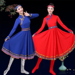 新款民族舞蹈演出服<span class=H>女装</span>蒙古舞<span class=H>服装</span>短款大摆裙蒙族服饰半身裙短款