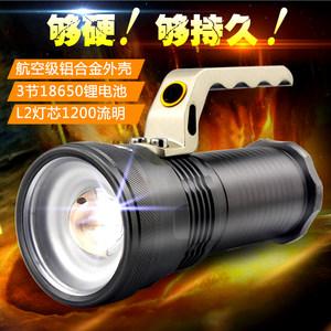 led2探照灯强光超亮5000户外<span class=H>手电</span>筒远程充电远射多功能家用黄光可