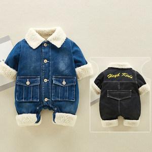 婴儿<span class=H>连体衣</span>加绒韩版加厚保暖外套冬天牛仔爬服男宝宝外出抱衣毛领