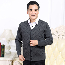 Middle-aged and old men's sweater, knitted cardigan, daddy's V-neck jacket, thickened male sweater