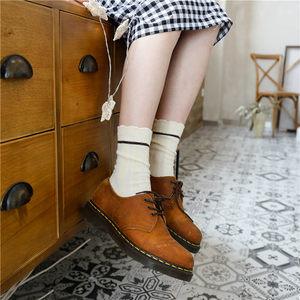 喵兔袜子秋冬女士<span class=H>短袜</span>复古保暖羊毛花边彩色堆堆女中筒袜短靴袜