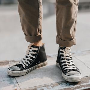 秋季高帮帆布鞋男学生韩版潮流<span class=H>男鞋</span>透气潮鞋青少年<span class=H>鞋子</span>男小脏鞋男