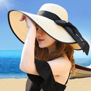 帽子女沙滩帽遮阳草帽大沿可折叠<span class=H>夏季</span>防晒太阳帽出游海边度假帽