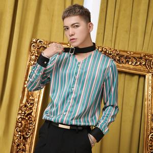 POP男装春季<span class=H>衬衫</span>男长袖条纹韩版修身潮流无领青年休闲衬衣个性潮