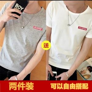 10元新款纯棉包邮9.9元男装衣服特价圆领修身潮短袖韩版T恤9块钱