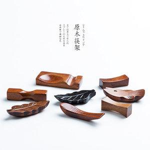 创意日式原木制筷子架筷托可爱<span class=H>鱼</span>筷架毛笔搁架木质放快子托筷枕
