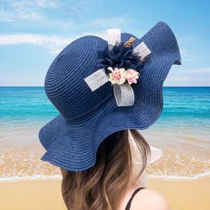 帽子女夏天防晒沙滩帽出游海边可折叠花朵<span class=H>草帽</span>大沿遮阳帽太阳帽潮