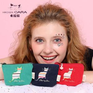 HIKOSEN CARA卡拉猫日韩<span class=H>零钱包</span>女迷你帆布艺可爱韩版小清新硬币包