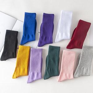 长袜子女韩国学院风纯棉<span class=H>长筒袜</span>韩版夏季薄款中筒袜彩色糖果色潮袜