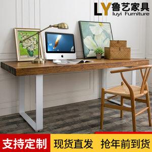 复古实木简约家用电脑桌椅组合办公会议书桌铁艺长方形餐桌<span class=H>工作台</span>