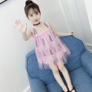 女童连衣裙夏装吊带羽毛长裙童装蛋糕沙滩裙