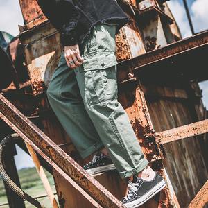 日系原宿bf风垂感阔腿裤直筒男ulzzang<span class=H>工装裤</span>宽松大口袋休闲长裤