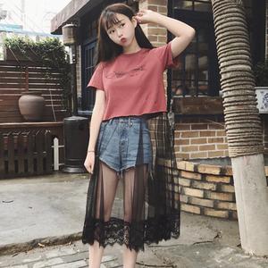 印花<span class=H>连衣裙</span>女夏装新款韩版百搭小心机网纱蕾丝拼接短袖T恤裙学生