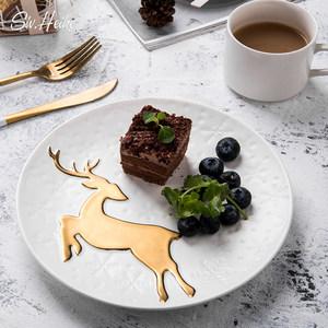 北欧ins金色麋鹿创意欧式家用陶瓷盘好看的西<span class=H>餐盘</span>摆盘子碟子餐具