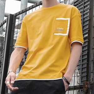 罗蒙迪顿男士短袖t恤2019新款夏装潮流潮牌宽松纯棉长袖<span class=H>男装</span>体恤
