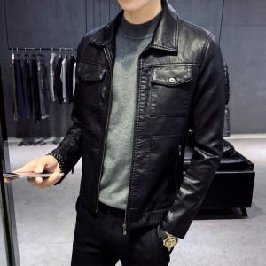 <span class=H>皮衣</span>男士2018真皮修身韩版帅气翻领潮流个性短款加绒外套机车夹克