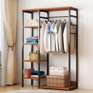 家用衣帽架放衣服的架子落地式仿实木纹衣架子挂衣架卧室小多功能