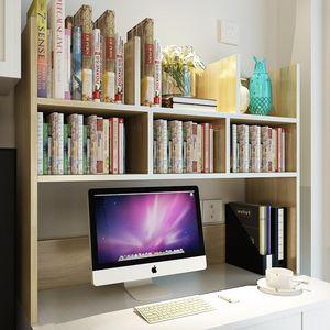 电脑小<span class=H>书架</span>宿舍桌面收纳书桌上学生用实木经济型简易多层架置物架