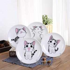 西餐盘创意西餐具家用<span class=H>陶瓷器</span>儿童卡通猫咪碟子早餐水果牛排菜<span class=H>盘子</span>