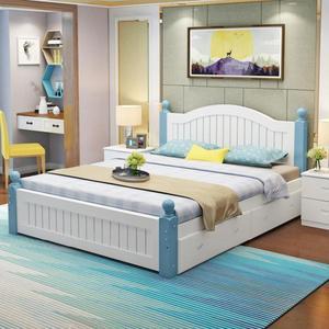 实木床1.2米单人床<span class=H>大床</span>现代家居家具创意双人床客房小户型双抽屉