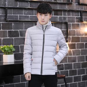 冬季青年棉衣休闲学生棉服男韩版潮流外套时尚棉袄纯色青少年上衣