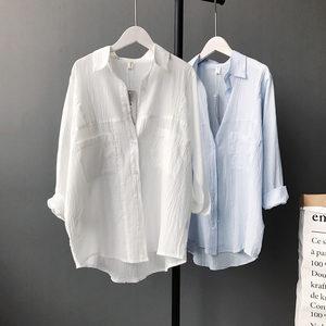 春夏季特肥加大码纯色棉麻长袖女短款衬衫复古慵懒宽松显瘦薄外套