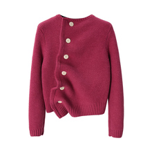 XC Giant White Unsymmetrical Loose Pullover Woman's Red Thickened Knitted Jacket Autumn