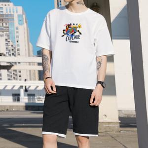 套装男夏季短袖t恤学生卫衣运动帅气一套