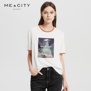 纯棉MECITY<span class=H>女装</span>秋季简约时尚撞色袖口潮流T恤