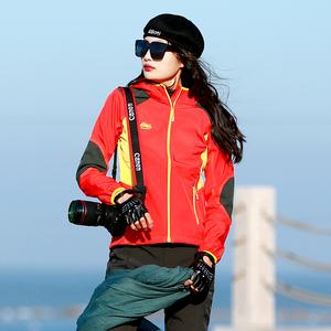 舒米勒新品户外女式软壳衣抓绒保暖防风雪冲锋衣郊游旅行登山<span class=H>服装</span>