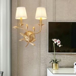 <span class=H>壁灯</span>卧室床头灯双头美式温馨布艺灯罩创意个性过道楼梯玄关客厅灯