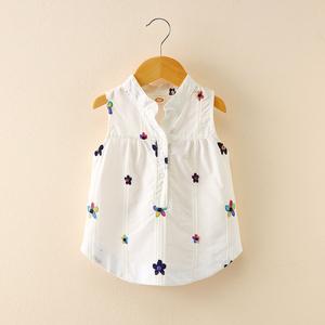 夏装新款女童女宝宝<span class=H>背心</span>刺绣小花朵无袖立领休闲衬衫儿童纯棉上衣