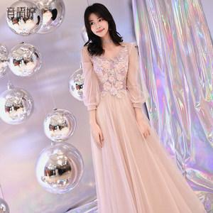 <span class=H>晚礼服</span>女2018新款长款修身年会洋装小礼服宴会冬装聚会连衣裙晚宴