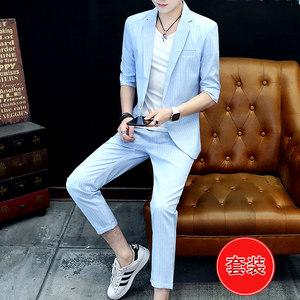 春夏季男士西服潮流夏天休闲九分裤单西一套衣服韩版中袖薄款西装