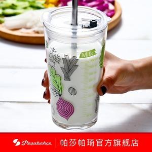 进口玻璃杯早餐牛奶杯印花量杯刻度杯水杯子吸管杯带盖创意果汁杯