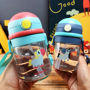 卡通儿童背带塑料<span class=H>吸管</span>杯幼儿园可爱防摔水壶夏季便携户外防漏杯子
