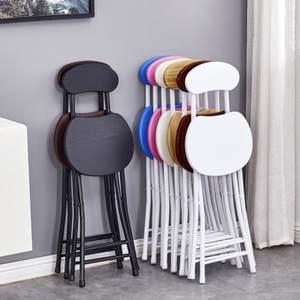 马扎小凳子便携宿舍家用木木头圆凳休闲小折凳不锈钢办公靠背椅节