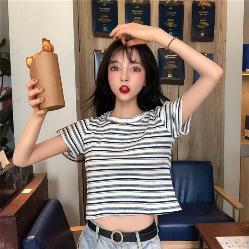 2019夏新款修身上衣港风ins潮紧身小心机打底衫条纹针织短袖T恤女