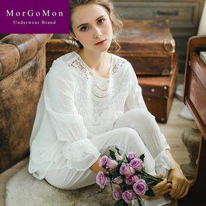 MORGOMON粉色公主风睡衣女秋宫廷风复古蕾丝花边长袖套装XJY929